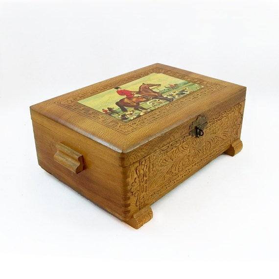 Decorative Wooden Jewelry Boxes : Vintage decorative hinged wooden box jewelry
