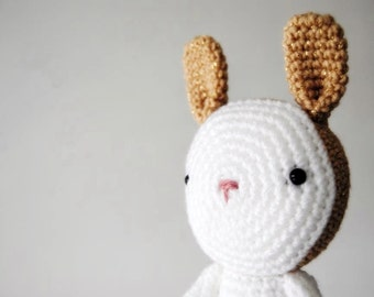 Gold and white Bunny, crocheted toy, amigurumi, ready to ship
