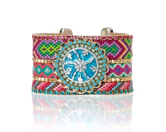 Turquoise mandala friendship cuff - friendship jewelry - friendship bracelets - statement cuff - rhinestone cuff - hippie bracelet