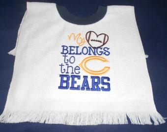 My heart belongs to the chicago bears over the head bib