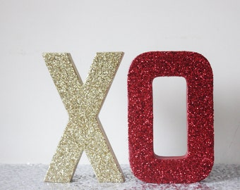 XO Glitter Gold and Red Sign Letters Free Standing Glittered Valentine's Day Valentine Decor Letter Vday Party Love Stand Up Photo Prop