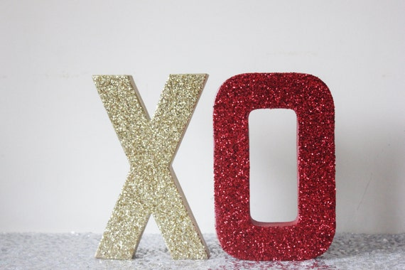 xo glitter gold and red sign letters free standing glittered valentines day valentine decor letter vday