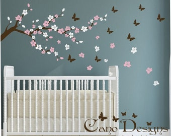 Cherry Blossom Branch with Butterflies Vinyl Wall decal Sticker