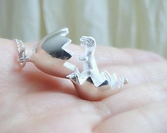 Silver pendant,  Dinosaur Egg Necklace, silver egg necklace, Fun jewelry, 925 silver necklace, delicate necklace