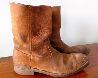 Justin boots Vintage Mens Brown Worn in Justin Good Year Boots Size 10 1/2B
