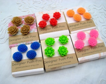 Push pin set, thumbtack set of 4 floral cabochon pins for bulletin boards, memo board tacks, choose your color, choose magnets or pushpins