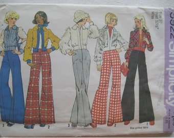 Vintage 1973 Lined Jacket and Bell Bottom Pants Pattern Simplicity 5922 Size 10
