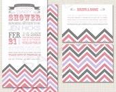 Storybook Baby Shower Invitations - pink, gray, purple