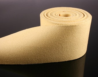 1YD-50mm Suede Ribbon Tape made of Specially Formulated Fabric,thin,soft but hold the shape-Yellow(B300)