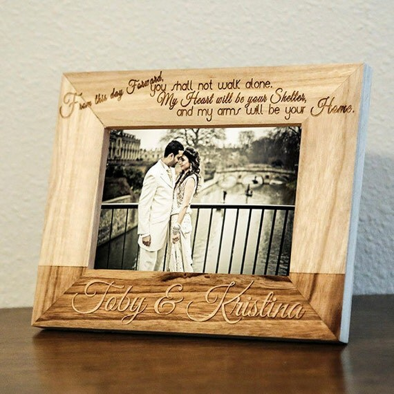 Personalized Wedding Picture Frame-Wood Engraved-Wedding Gift-Wedding ...