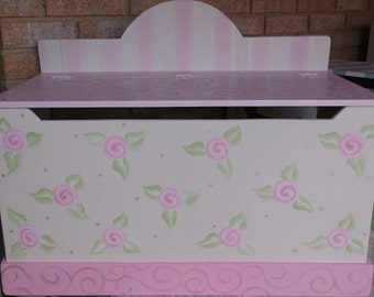 Personalized, TOY Chest, Storage, Toy Box, Cottage Rose, Dress Up, Trunk, PINK, Toy Bin,Benches