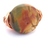RING - Wrapped in Copper Wire - Made to order in any size - 15 mm Faceted, Red Creek Jasper, Natural Semi-precious Gemstone - Wire Wrapped