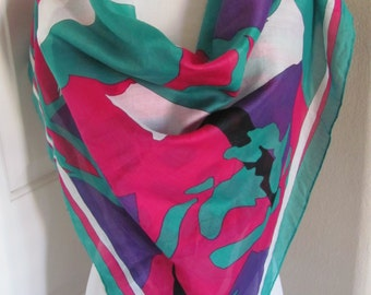 "Ginnie Johansen Beautiful Colorful Ladies Cotton Scarf - 32"" Inch 81cm Square"