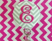 Retractable Monogrammed Button Badge Reel / Name Badge Holder by Flowersaks