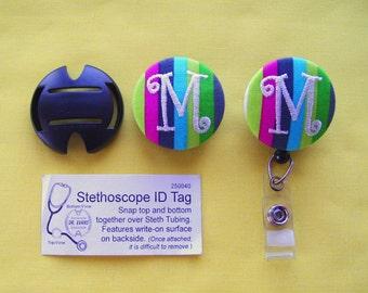 Coordinating Stethoscope Id & Badge Reel/ Name Badge Holder Set - Monogrammed button by Flowersaks