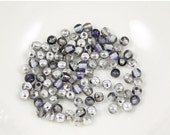 ON SALE Silver and Blue 3mm Round Czech