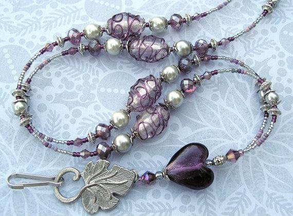 Beaded Lanyard Breakaway Lanyard ID Badge Holder  Magnetic Break Away heart hearts purple