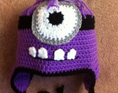 SALE Purple One Eye Earflap Hat Custom Size