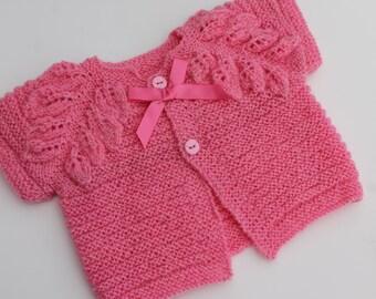 Clearance. Pink Leaves Bolero. 6-12M. Mohair Baby Girl Bolero. Hand Knit Baby Shrug.