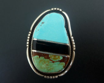Inlay Statement Ring - Handmade Sterling Silver and Bold Inlay Statement Ring - One of a Kind Turquoise and Coral Inlay Ring - Size 9