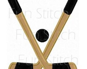 Ice hockey applique machine embroidery design