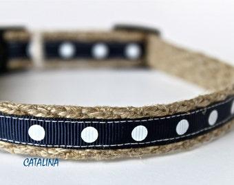 """Polka Dot Dog Collar, Navy Dog Collar, 5/8"""" Wide Dog Collar, White Polka Dot Collar, Nautical Dog Collar"""