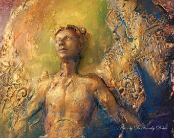 COMMISSION: Rainbow Angel. Wall Sculpture, by  Fae Factory Visionary Artist Dr Franky Dolan (3D clay relief canvas painting Art) {SEE VIDEO}