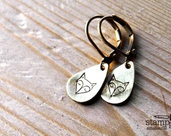 FOX earrings // teardrop raw brass hook earrings // hand stamped jewelry