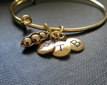 Personalized gold bangle bracelet, three peas in a pod bracelet, three initial bracelet, gold expandable bangle, gift for mother of three