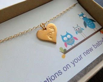 Pregnancy gift, Baby footprint necklace, new mother to be, push present, heart necklace, baby shower gift, expecting mom