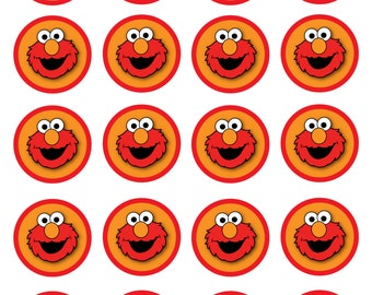 Elmo Inspired cupcake toppers/treat bag tags/decorations