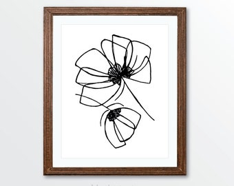 Minimalist Tulip Flowers Art Print - Black and White Pen and Ink Modern Art