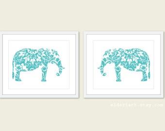 Elephant Art Prints - Set of 2 - Floral Elephant Wall Art - Modern Nursery Art - Aqua Blue Turquosie Elephant Art Print - Aldari Art