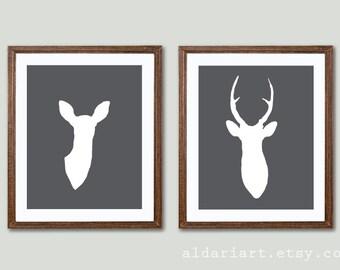 Modern Deer Antlers Art Prints - Deer And Doe Prints - Deer Wall Art  - Set of 2 - 5x7 or 8x10 Frames not included - Charcoal Grey