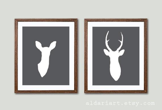 Modern Deer Antlers Art Prints - Deer And Doe Prints Deer Wall Art  - Set of 2 - Woodland Home Decor - Charcoal Grey -  His and Hers
