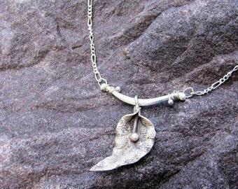 Floating Silver leaf Necklace
