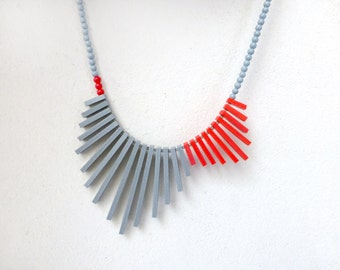 geometric tribal necklace - red & grey - contemporary jewelry