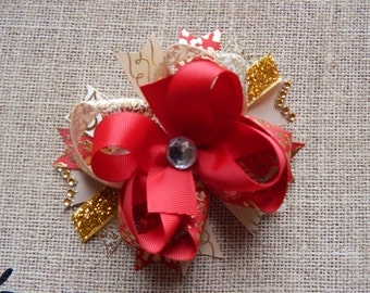 Red, Cream, Gold, Over the Top Hair Bow, Hair Bows, Hairbows, Holiday hair bow, 5.5 inchs