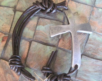 Sundance Brown Leather Taos Heavy Sculpted Coptic Sideway Cross Womens with Gift Box