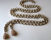 Lariat Necklace - Wrap Around Necklace -  Tassel Necklace  //  Silver Plate Chain //  Yellow Gold Rhinestone Drops