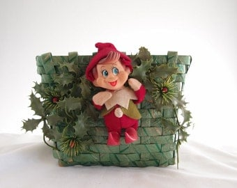 Vintage Christmas Elf Basket for holiday cards & what-nots