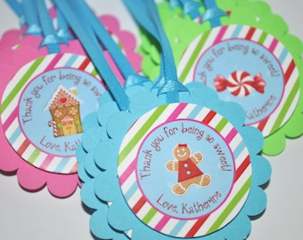 Gingerbread Birthday Favor Tags - Winter Birthday Party Decorations - Christmas Party Decorations - Gingerbread Decorating Party - Set of 12