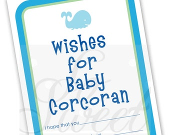 Boys Baby Well Wish Cards - Baby Shower Advice Cards - Whale Baby Shower - Baby Shower Decorations - Baby Shower Games - Set of 12