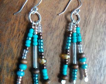 Turquoise and Bronze Seed Bead Dangle Earrings