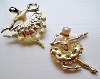 SALE - 2 Vintage Ballerina brooches / pins - Rhinestones and pearl - Dancer jewelry - Enamel finish - cheesegrits