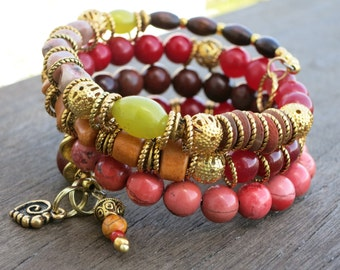 Warm Colors  - with Persian Agates - Memory wire bracelets (set of two)
