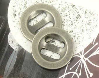 Metal Buttons - Oval Holes Nickel Silver Metal Buttons. 0.79 inch , 10 pcs