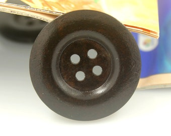 Wood Buttons - Classy Broad Border Recessed Center Concave Brown Wooden Buttons, 1.5 inch (6 in a set)