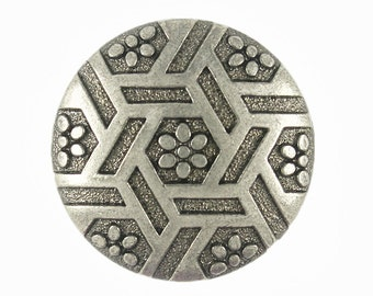 Special Metal Buttons - Set 10 Hexagram and Flowers Shiny Gunmetal Buttons. 0.87 inch