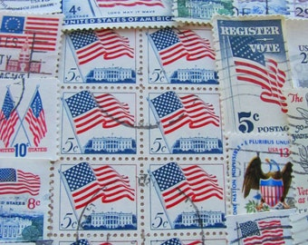 Flags Of Our Fathers 50 Vintage US Postage Stamps Red White Blue American Flags Stars and Stripes Patriotic Philately Republican Democrat